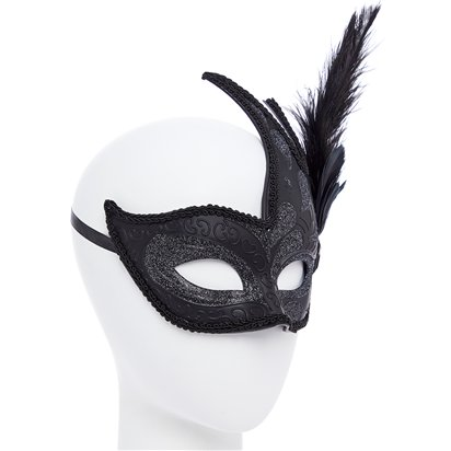 Ornate  Black Masquerade Mask for Women - Venetian Mask with Feathers left