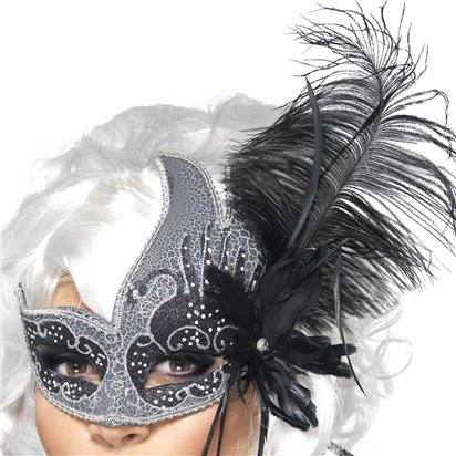 Dark  Angel Silver & Black Masquerade Mask for Women - Venetian Mask with  Feathers left