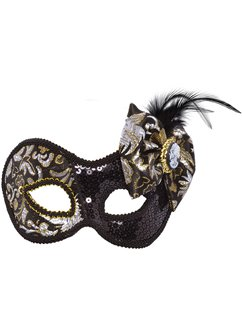 Black Victorian Masquerade Mask with Cameo Bow