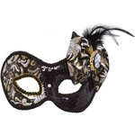 Black Victorian Style Mask with Cameo
