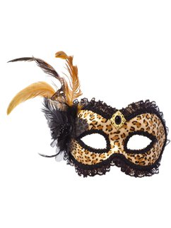 Leopard Print Masquerade Mask with Feathers