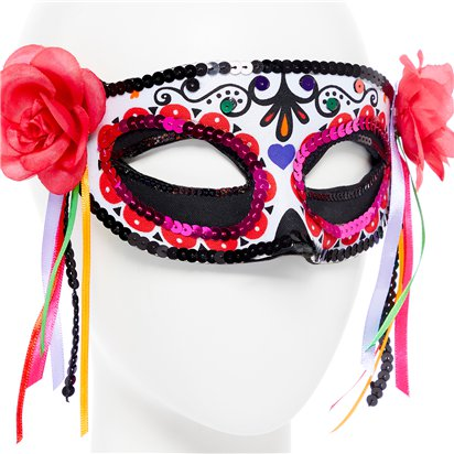 Day of the Dead Masquerade Mask for Women - Venetian Mask with Ribbons - Halloween Mask back