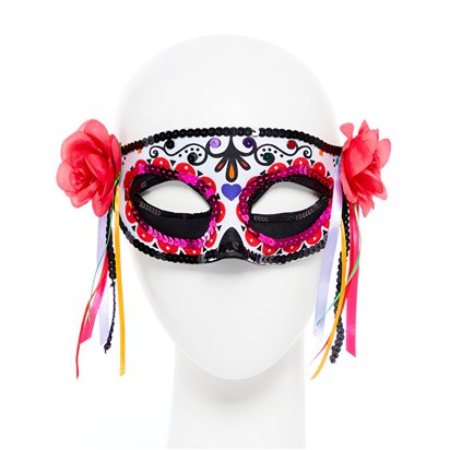 Day of the Dead Masquerade Mask for Women - Venetian Mask with Ribbons - Halloween Mask front
