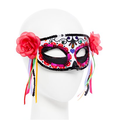 Day of the Dead Masquerade Mask for Women - Venetian Mask with Ribbons - Halloween Mask left