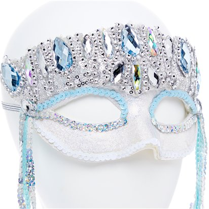 Crystal Sparkle Silver Masquerade Mask for Women - Venetian Mask with Gems back