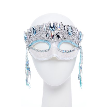 Crystal Sparkle Silver Masquerade Mask for Women - Venetian Mask with Gems front
