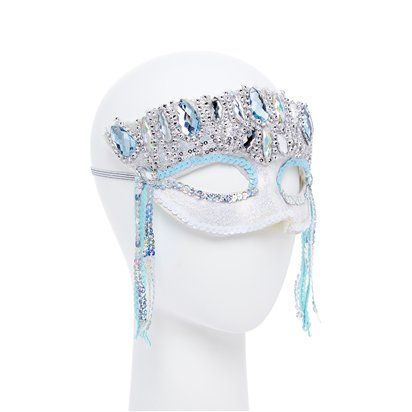 Crystal Sparkle Silver Masquerade Mask for Women - Venetian Mask with Gems left