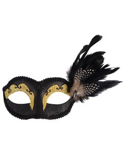 Black Glitter Masquerade Mask with Feathers