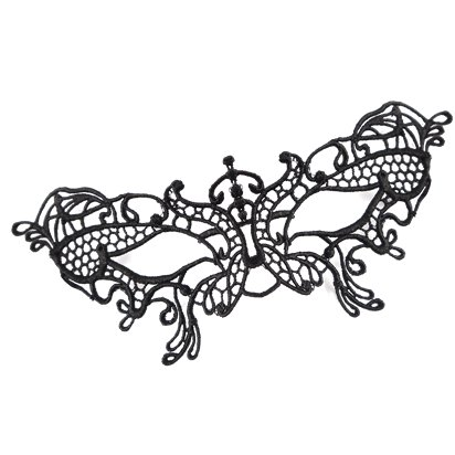 Black Butterfly Lace Masquerade Mask for Women - Venetian Mask  front
