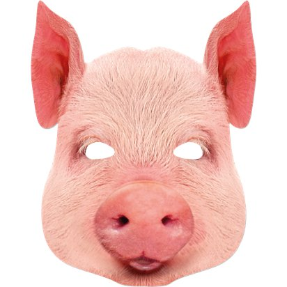 Pig Animal Cardboard Mask - World Book Day Fancy Dress Accessories front