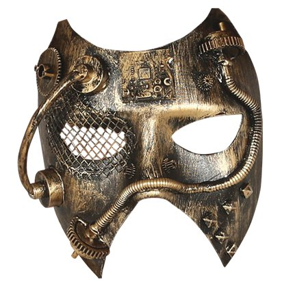 Golden  Steampunk Mask - Masquerade Mask for Men - Steampunk Accessories front