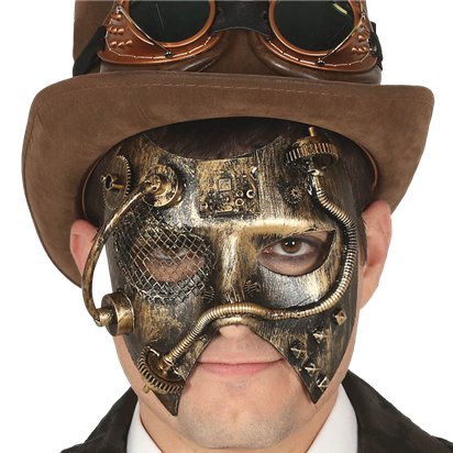 Golden  Steampunk Mask - Masquerade Mask for Men - Steampunk Accessories left
