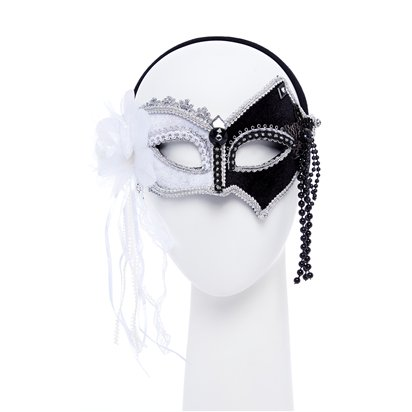 White & Black Masquerade Mask for Women - Venetian Mask with Feathers & Beads front