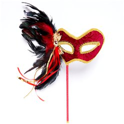 Red & Gold Masquerade Mask on Stick with Feathers