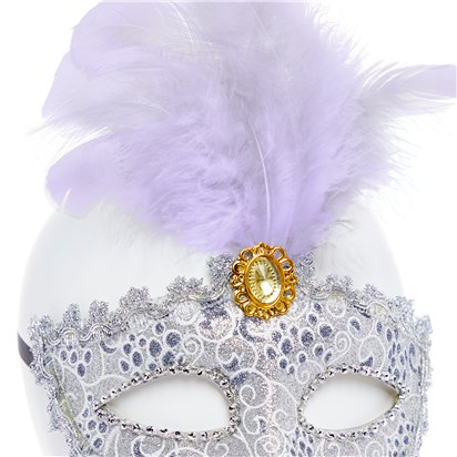 Silver Masquerade Mask for Women - Venetian Mask with Feather & Gems back