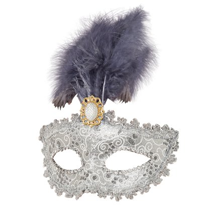 Silver Masquerade Mask for Women - Venetian Mask with Feather & Gems front