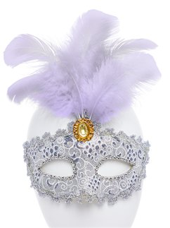Silver Masquerade Mask with Tall Feather & Gem