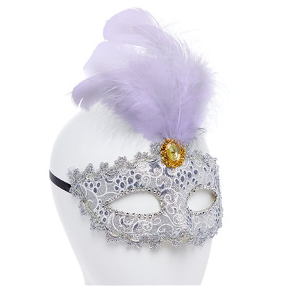 Silver Masquerade Mask for Women - Venetian Mask with Feather & Gems left