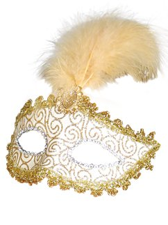 Gold Glittery Masquerade Mask with Tall Feather & Gem
