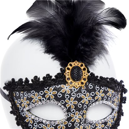Glittery Black Masquerade Mask with for Women - Venetian Mask with Feathers & Gem back