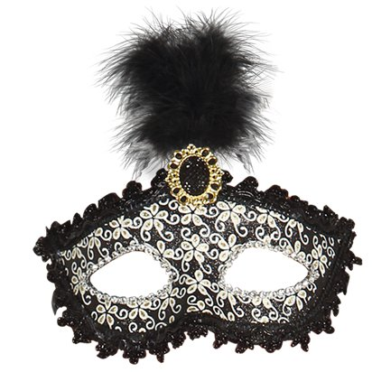 Glittery Black Masquerade Mask with for Women - Venetian Mask with Feathers & Gem front