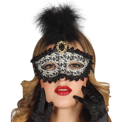 Glittery Black Masquerade Mask with for Women - Venetian Mask with Feathers & Gem left