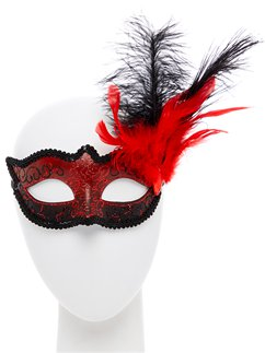 Red Masquerade Mask with Glitter & Feathers