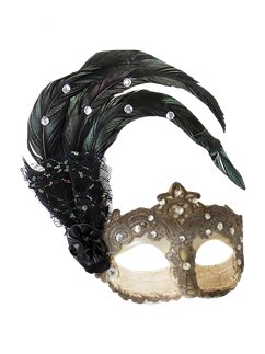 Silver Masquerade Mask with Rhinestones & Feathers