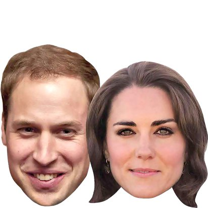 Royal Couples - Pack of 6 - Celebrity Masks - Royal Wedding Street Party  back