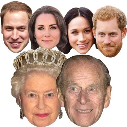 Royal Couples - Pack of 6 - Celebrity Masks - Royal Wedding Street Party  front