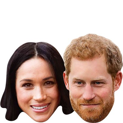 Royal Couples - Pack of 6 - Celebrity Masks - Royal Wedding Street Party  left
