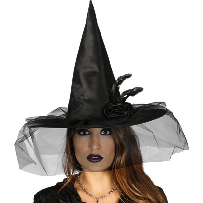 Black Witch hat with Flower - Women's Halloween Fancy Dress Accessories front