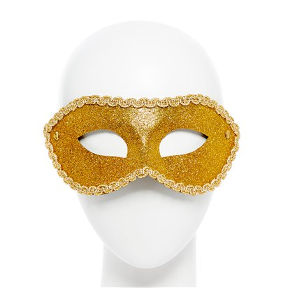 Gold Glitter Masquerade Mask for women - Venetian Masks front