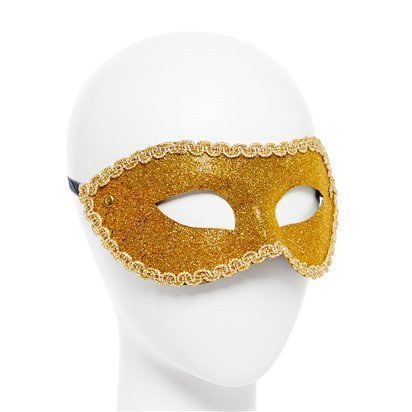 Gold Glitter Masquerade Mask for women - Venetian Masks left