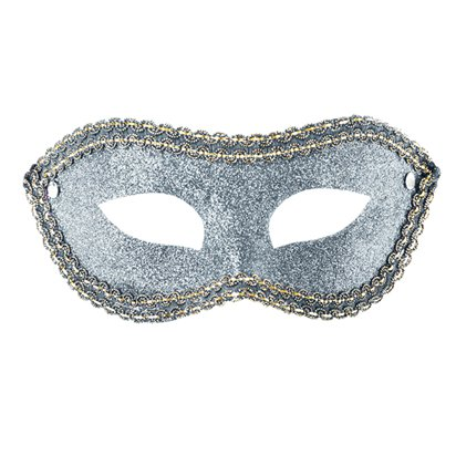 Silver Glitter Masquerade Mask for Women - Venetian Masks front