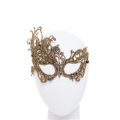 Gold Lace Masquerade Mask for Women - Venetian Mask front