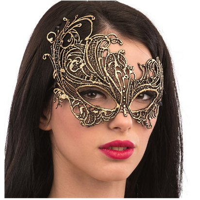 Gold Lace Masquerade Mask for Women - Venetian Mask left