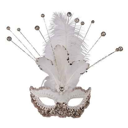 White Glitter Masquerade Mask for Women - Venetian Mask with Sequins & Feathers front