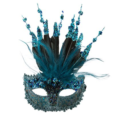 Turquoise Sequin Masquerade Mask for Women - Venetian Mask with Glitter & Feathers front