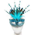 Turquoise Masquerade Mask with Sequins, Glitter & Feathers