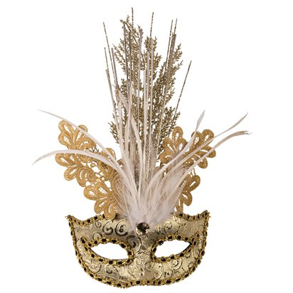 Gold Glitter Masquerade Mask for Women - Venetian Mask Sequins & Feathers front