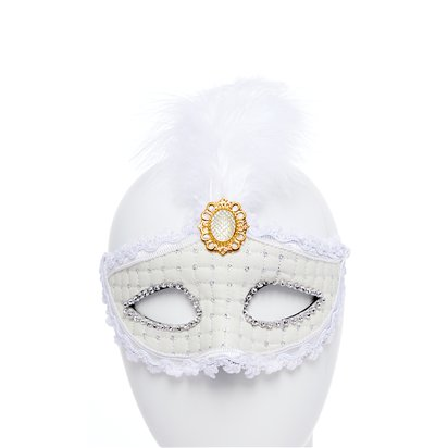 White Masquerade Mask for Women - Venetian Mask with Feathers front