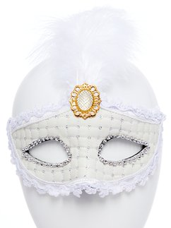 White Masquerade Mask with Feather