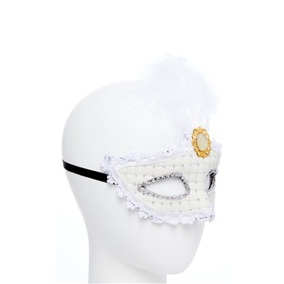 White Masquerade Mask for Women - Venetian Mask with Feathers left