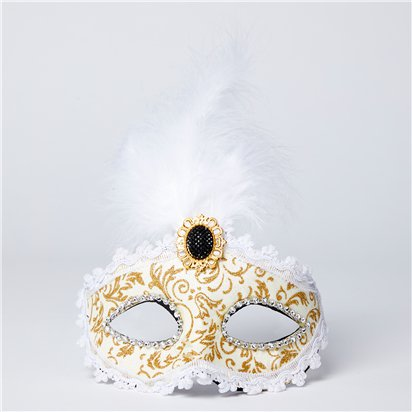 Gold & Cream Masquerade Mask for Women - Venetian Mask with Feathers front