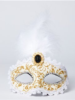 Gold & Cream Masquerade Mask with Feather