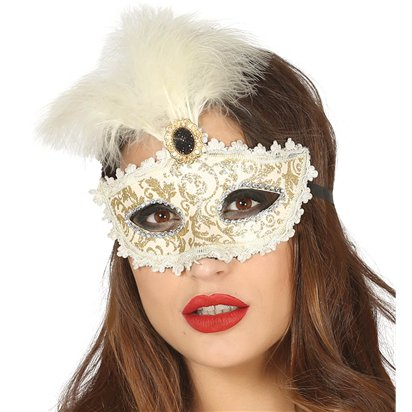 Gold & Cream Masquerade Mask for Women - Venetian Mask with Feathers left