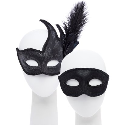 Black Masquerade Masks for Couples - His and Hers Masquerade Masks - Venetian Masks front