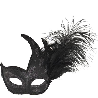 Black Masquerade Masks for Couples - His and Hers Masquerade Masks - Venetian Masks left