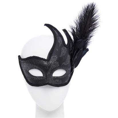 Black Masquerade Masks for Couples - His and Hers Masquerade Masks - Venetian Masks right